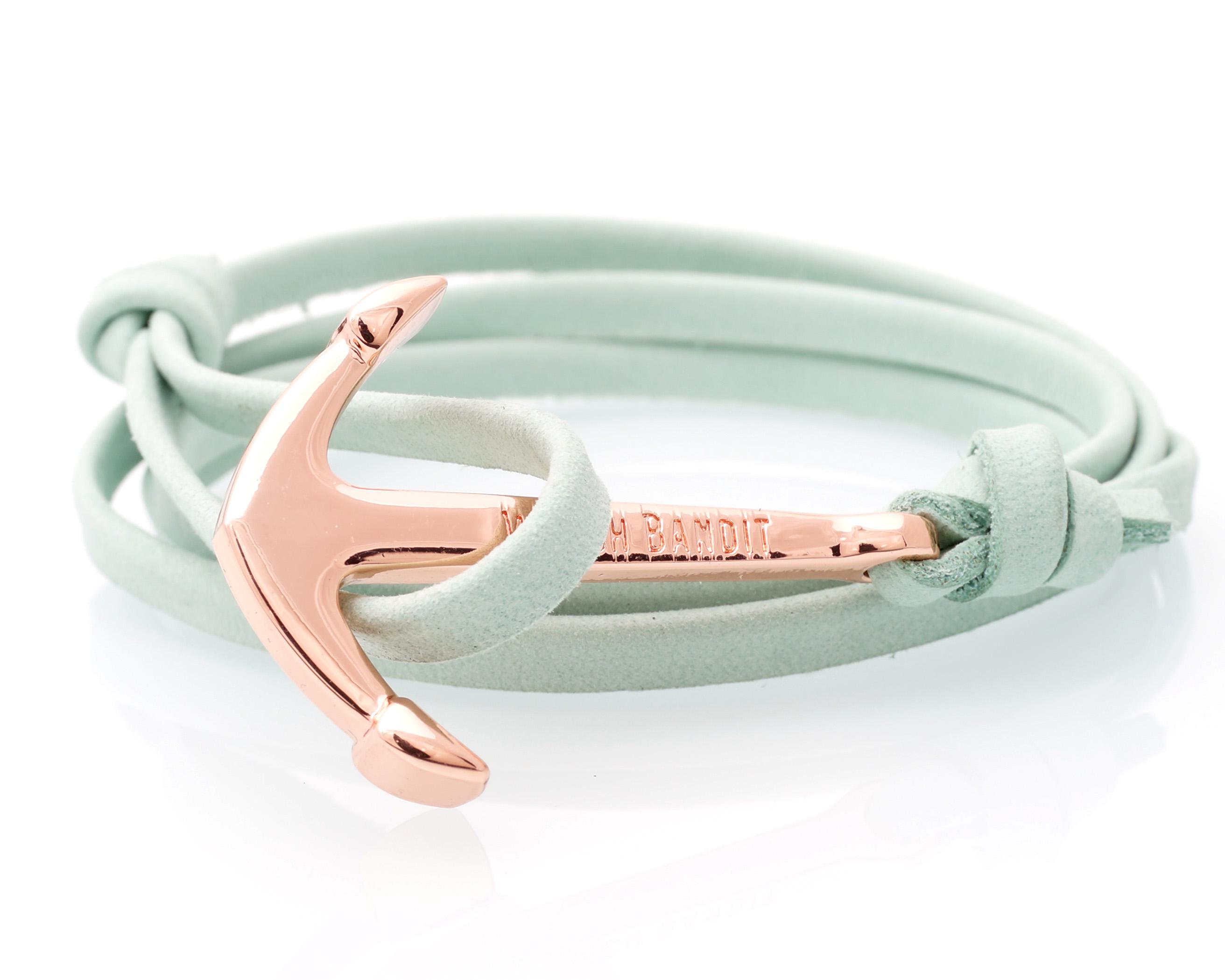 Mint Green Leather Rose Gold Anchor Bracelet